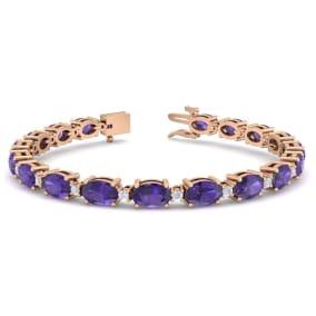 8 1/2 Carat Oval Shape Amethyst and Diamond Bracelet In 14 Karat Rose Gold, 7 Inches