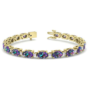 8 1/2 Carat Oval Shape Mystic Topaz and Diamond Bracelet In 14 Karat Yellow Gold, 8 1/2 Carat Oval Shape Mystic Topaz and Diamond Bracelet In 14 Karat Yellow Gold, 7 Inches