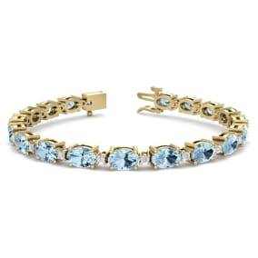 9 Carat Oval Shape Aquamarine and Diamond Bracelet In 14 Karat Yellow Gold, 9 Carat Oval Shape Aquamarine and Diamond Bracelet In 14 Karat Yellow Gold, 7 Inches