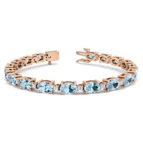 9 Carat Oval Shape Aquamarine and Diamond Bracelet In 14 Karat Rose Gold, 9 Carat Oval Shape Aquamarine and Diamond Bracelet In 14 Karat Rose Gold, 7 Inches