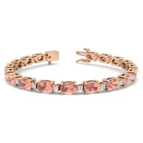 9 Carat Oval Shape Morganite and Diamond Bracelet In 14 Karat Rose Gold, 9 Carat Oval Shape Morganite and Diamond Bracelet In 14 Karat Rose Gold, 7 Inches