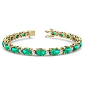 9 Carat Oval Shape Emerald and Diamond Bracelet In 14 Karat Yellow Gold, 9 Carat Oval Shape Emerald and Diamond Bracelet In 14 Karat Yellow Gold, 7 Inches