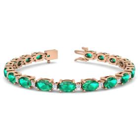 9 Carat Oval Shape Emerald and Diamond Bracelet In 14 Karat Rose Gold, 9 Carat Oval Shape Emerald and Diamond Bracelet In 14 Karat Rose Gold, 7 Inches