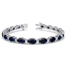 12 Carat Oval Shape Sapphire and Diamond Bracelet In 14 Karat White Gold, 12 Carat Oval Shape Sapphire and Diamond Bracelet In 14 Karat White Gold, 7 Inches