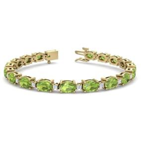 10 Carat Oval Shape Peridot and Diamond Bracelet In 14 Karat Yellow Gold, 7 Inches