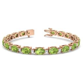 10 Carat Oval Shape Peridot and Diamond Bracelet In 14 Karat Rose Gold, 7 Inches