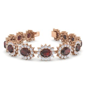 24 Carat Oval Shape Garnet and Halo Diamond Bracelet In 14 Karat Rose Gold, 24 Carat Oval Shape Garnet and Halo Diamond Bracelet In 14 Karat Rose Gold, 7 Inches