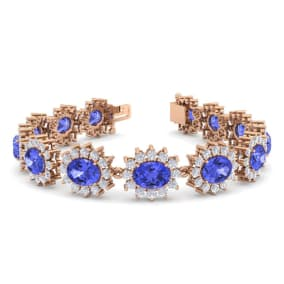 21 Carat Oval Shape Tanzanite and Halo Diamond Bracelet In 14 Karat Rose Gold, 21 Carat Oval Shape Tanzanite and Halo Diamond Bracelet In 14 Karat Rose Gold, 7 Inches