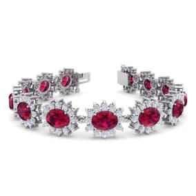 25 Carat Oval Shape Ruby and Halo Diamond Bracelet In 14 Karat White Gold, 25 Carat Oval Shape Ruby and Halo Diamond Bracelet In 14 Karat White Gold, 7 Inches