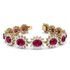 25 Carat Oval Shape Ruby and Halo Diamond Bracelet In 14 Karat Yellow Gold, 25 Carat Oval Shape Ruby and Halo Diamond Bracelet In 14 Karat Yellow Gold, 7 Inches