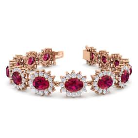 25 Carat Oval Shape Ruby and Halo Diamond Bracelet In 14 Karat Rose Gold, 25 Carat Oval Shape Ruby and Halo Diamond Bracelet In 14 Karat Rose Gold, 7 Inches