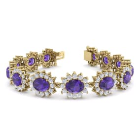 18 Carat Oval Shape Amethyst and Halo Diamond Bracelet In 14 Karat Yellow Gold, 7 Inches