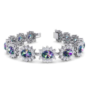 18 Carat Oval Shape Mystic Topaz and Halo Diamond Bracelet In 14 Karat White Gold, 18 Carat Oval Shape Mystic Topaz and Halo Diamond Bracelet In 14 Karat White Gold, 7 Inches