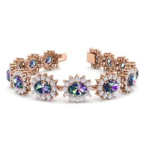 18 Carat Oval Shape Mystic Topaz and Halo Diamond Bracelet In 14 Karat Rose Gold, 18 Carat Oval Shape Mystic Topaz and Halo Diamond Bracelet In 14 Karat Rose Gold, 7 Inches