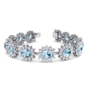 19 Carat Oval Shape Aquamarine and Halo Diamond Bracelet In 14 Karat White Gold, 19 Carat Oval Shape Aquamarine and Halo Diamond Bracelet In 14 Karat White Gold, 7 Inches