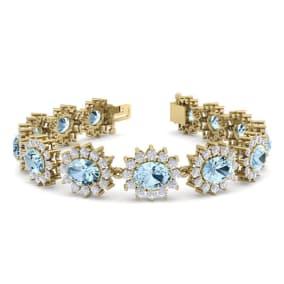 19 Carat Oval Shape Aquamarine and Halo Diamond Bracelet In 14 Karat Yellow Gold, 19 Carat Oval Shape Aquamarine and Halo Diamond Bracelet In 14 Karat Yellow Gold, 7 Inches