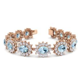 19 Carat Oval Shape Aquamarine and Halo Diamond Bracelet In 14 Karat Rose Gold, 19 Carat Oval Shape Aquamarine and Halo Diamond Bracelet In 14 Karat Rose Gold, 7 Inches