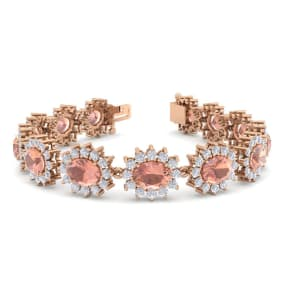 19 Carat Oval Shape Morganite and Halo Diamond Bracelet In 14 Karat Rose Gold, 19 Carat Oval Shape Morganite and Halo Diamond Bracelet In 14 Karat Rose Gold, 7 Inches