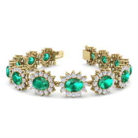 19 Carat Oval Shape Emerald and Halo Diamond Bracelet In 14 Karat Yellow Gold, 19 Carat Oval Shape Emerald and Halo Diamond Bracelet In 14 Karat Yellow Gold, 7 Inches