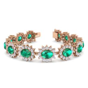 19 Carat Oval Shape Emerald and Halo Diamond Bracelet In 14 Karat Rose Gold, 19 Carat Oval Shape Emerald and Halo Diamond Bracelet In 14 Karat Rose Gold, 7 Inches