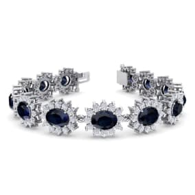 25 Carat Oval Shape Sapphire and Halo Diamond Bracelet In 14 Karat White Gold, 25 Carat Oval Shape Sapphire and Halo Diamond Bracelet In 14 Karat White Gold, 7 Inches