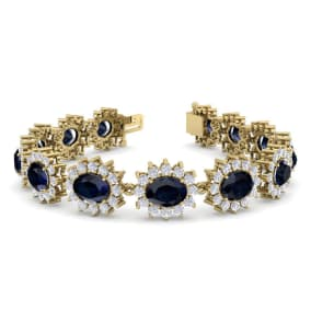 25 Carat Oval Shape Sapphire and Halo Diamond Bracelet In 14 Karat Yellow Gold, 25 Carat Oval Shape Sapphire and Halo Diamond Bracelet In 14 Karat Yellow Gold, 7 Inches