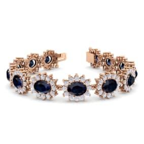 25 Carat Oval Shape Sapphire and Halo Diamond Bracelet In 14 Karat Rose Gold, 25 Carat Oval Shape Sapphire and Halo Diamond Bracelet In 14 Karat Rose Gold, 7 Inches