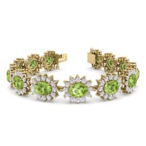 22 Carat Oval Shape Peridot and Halo Diamond Bracelet In 14 Karat Yellow Gold, 7 Inches