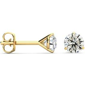 1.10 Carat Colorless Diamond Stud Earrings In Martini Setting, 14 Karat Yellow Gold