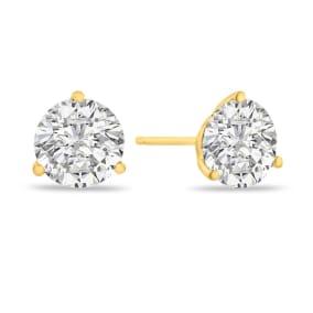 1.45 Carat Colorless Diamond Stud Earrings in 14 Karat Yellow Gold Martini Setting