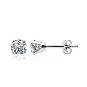 1.45 Carat Colorless Diamond Stud Earrings In 14 Karat White Gold