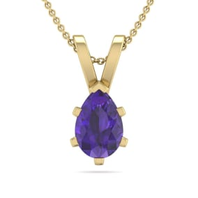 1/2 Carat Pear Shape Amethyst Necklace In 14K Yellow Gold Over Sterling Silver, 18 Inches