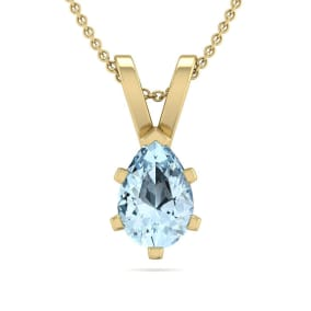 1/2 Carat Pear Shape Aquamarine Necklace In 14K Yellow Gold Over Sterling Silver, 18 Inches