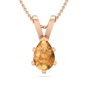 1/2 Carat Pear Shape Citrine Necklace In 14K Rose Gold Over Sterling Silver, 18 Inches