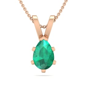 1/2 Carat Pear Shape Emerald Necklace In 14K Rose Gold Over Sterling Silver, 18 Inches