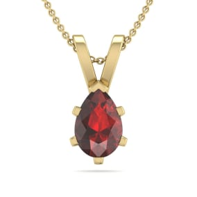 1/2 Carat Pear Shape Garnet Necklace In 14K Yellow Gold Over Sterling Silver, 18 Inches