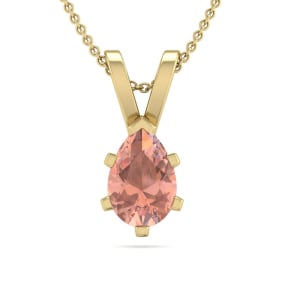 1/2 Carat Pear Shape Morganite Necklace In 14K Yellow Gold Over Sterling Silver, 18 Inches