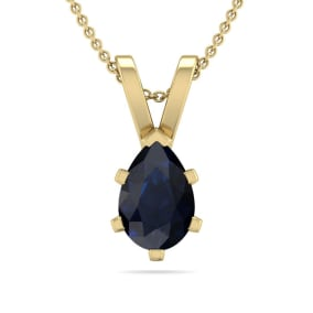1/2 Carat Pear Shape Sapphire Necklace In 14K Yellow Gold Over Sterling Silver, 18 Inches