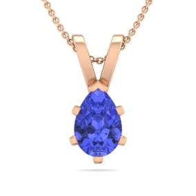 1/2 Carat Pear Shape Tanzanite Necklace In 14K Rose Gold Over Sterling Silver, 18 Inches
