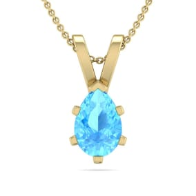 1/2 Carat Pear Shape Blue Topaz Necklace In 14K Yellow Gold Over Sterling Silver, 18 Inches