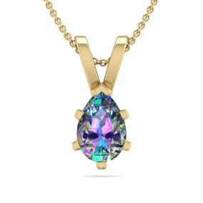 1/2 Carat Pear Shape Mystic Topaz Necklace In 14K Yellow Gold Over Sterling Silver, 18 Inches