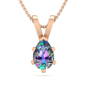1/2 Carat Pear Shape Mystic Topaz Necklace In 14K Rose Gold Over Sterling Silver, 18 Inches