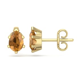 1 Carat Pear Shape Citrine Stud Earrings In 14K Yellow Gold Over Sterling Silver