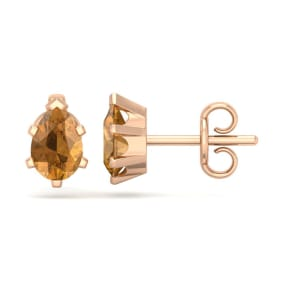 1 Carat Pear Shape Citrine Stud Earrings In 14K Rose Gold Over Sterling Silver