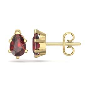 1 Carat Pear Shape Garnet Stud Earrings In 14K Yellow Gold Over Sterling Silver