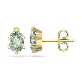 1 Carat Pear Shape Green Amethyst Stud Earrings In 14K Yellow Gold Over Sterling Silver