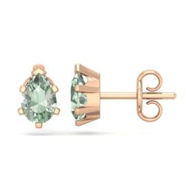 1 Carat Pear Shape Green Amethyst Stud Earrings In 14K Rose Gold Over Sterling Silver