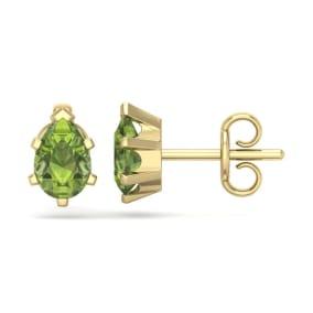 1 Carat Pear Shape Peridot Stud Earrings In 14K Yellow Gold Over Sterling Silver