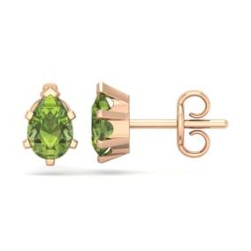 1 Carat Pear Shape Peridot Stud Earrings In 14K Rose Gold Over Sterling Silver