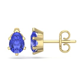 1 Carat Pear Shape Tanzanite Stud Earrings In 14K Yellow Gold Over Sterling Silver